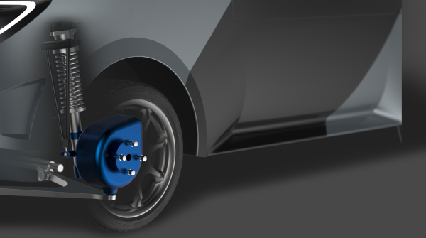 Indigo's robotic wheeltechnology integrates a direct-drive, dual-stator electric motor with electric active suspension. - Image courtesy of Indigo Technologies.