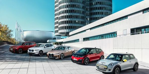 BMW Group's range of electric models for 2021. The i3 (center, red) projected the lowest TCO for...