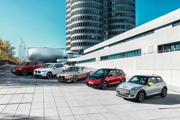 BMW Group's range of electric models for 2021. The i3 (center, red) projected the lowest TCO for all electric models at 75,000 miles and five years of operation. - Photo courtesy of BMW Group.