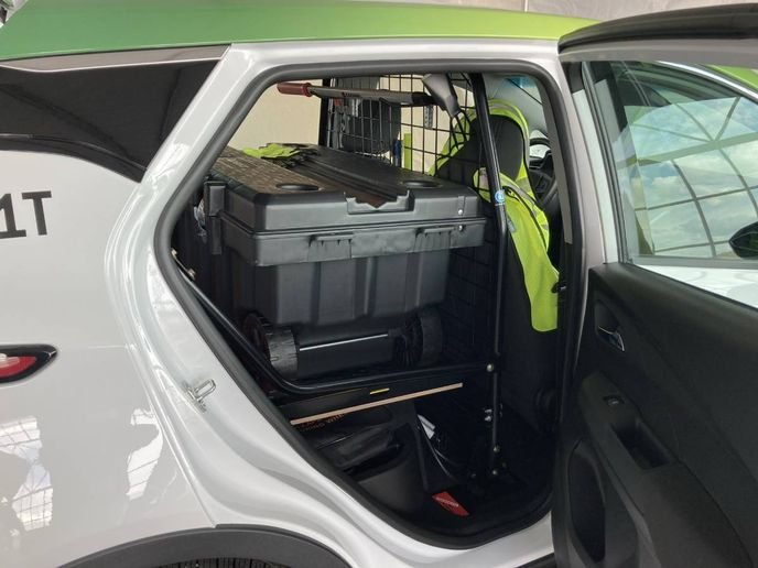 The 2022 Bolt EUV has a rear seat-delete option and can be configured with a cage partition and an SSV (Special Service Vehicle) package for non-pursuit law enforcement applications. - Photo by Chris Brown
