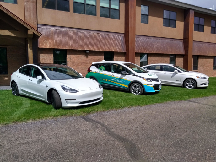 GCEA recently purchased a 2019 Tesla Model 3, which will be made available for members to test drive accompanied by an association employee. Members can still borrow the association's 2018 Chevy Bolt and 2016 Ford Fusion plug-in hybrid, pictured with the Tesla.  - Photos courtesy of GCEA.