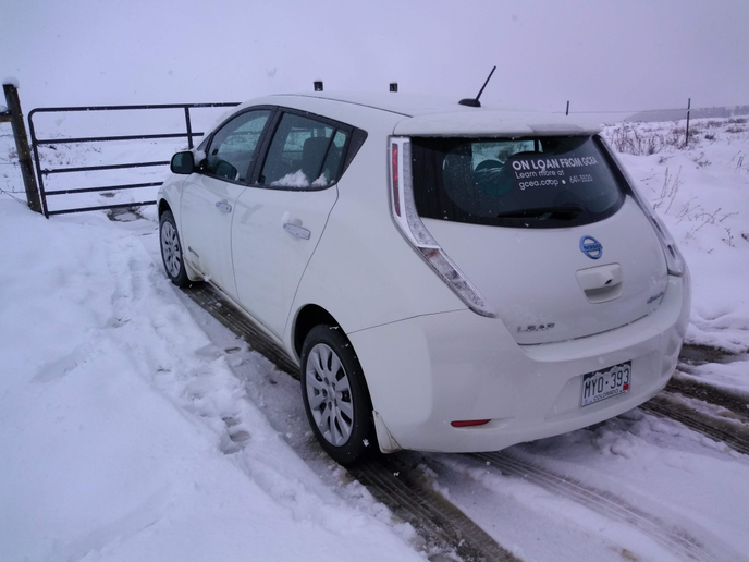 The Nissan Leaf and other BEVs in the GCEA fleet operate regularly throughout the winter at elevations greater than 7,000 feet. GCEA has since pulled the Leaf and a Chevy Spark from the loaner program and will be selling them.  - Photos courtesy of GCEA.