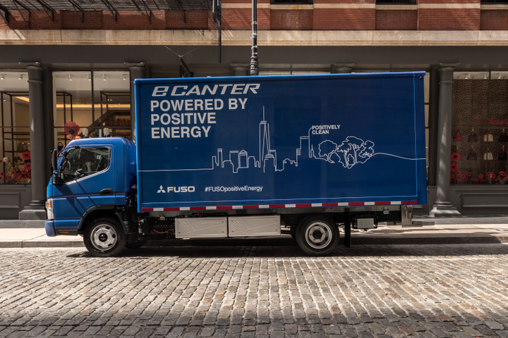Penske Truck leasing has taken delivery of four Fuso eCanter battery-electric work trucks, the first commercialized all-electric truck available in the U.S. in the Class 3-to-6 segment. - Photo via Penske.