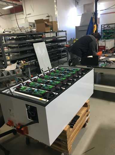 A foosball table? No, a battery pack: Xos batteries are purpose-built for commercial applications and are designed to be swapped individually.   - Photo by Chris Brown.