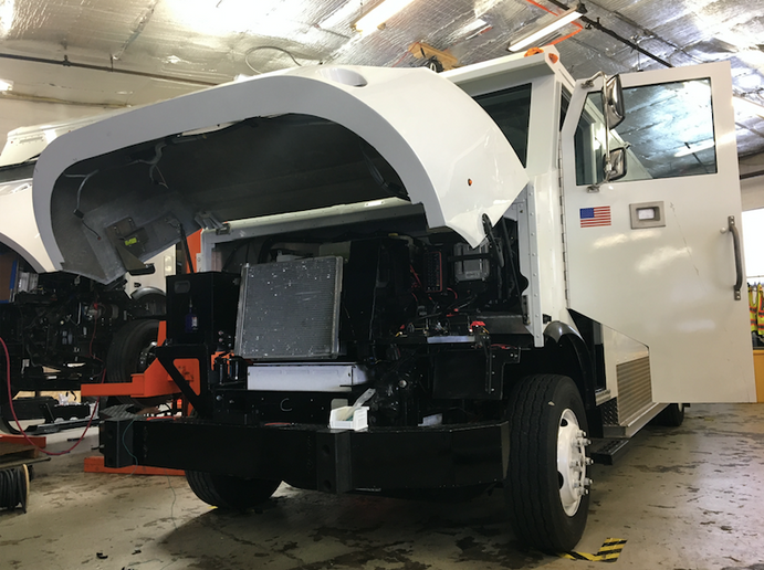 Under the hood of the electric truck used by Loomis: As opposed to liquid cooling, Xos batteries are air cooled, which allows for a safer, cheaper more energy dense battery.   - Photo by Chris Brown.