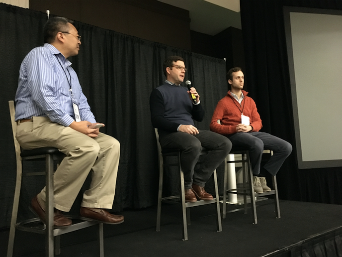 Bill Combs of Penske (center) and Charlie Jatt of Waymo (right) discussed autonomous trucking at the 2020 Autonomous Vehicles Silicon Valley Conference, which convened Feb. 26-28 at the Pullman Hotel, San Francisco Bay.