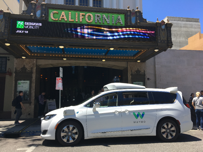 The Waymo autonomous minivan is parked outside the California Theater, site of TechCrunch's TC Sessions: Mobility on July 10.