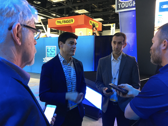 Ted Cannis, global director for electrification for Ford, met with journalists after the Ford press conference at the 2020 Work Truck Show.   - Photo by Chris Brown.