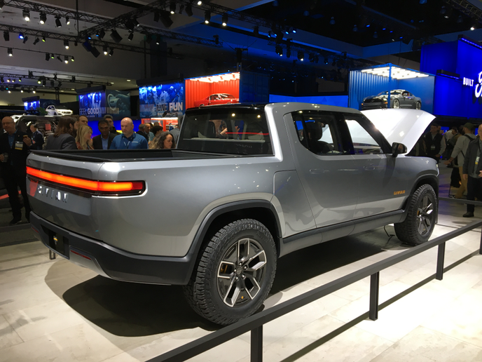 The Rivian R1T debuted at the 2018 Los Angeles Auto Show.