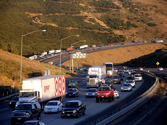 In California, the transportation sector alone accounts for 41% of total greenhouse gas (GHG) emissions and is a major contributor to oxides of nitrogen (NOx) and particulate matter (PM) emissions.  - Photo via Coolcaesar/Wikimedia.