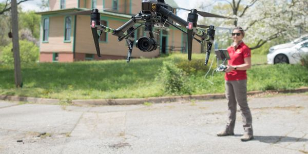 The Virginia Center for Innovative Technology (CIT) conducts a drone test on the vacant campus...