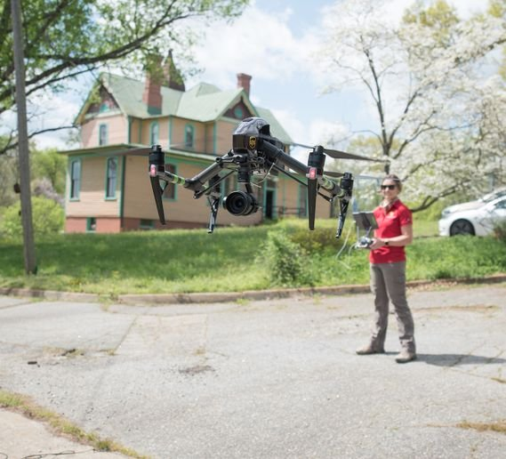 The Virginia Center for Innovative Technology (CIT) conducts a drone test on the vacant campus of St. Paul's College, in Lawrenceville, Virginia. - Photo courtesy of UPS.