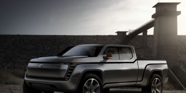 A rendering of the Lordstown Endurance all-electric pickup, scheduled for fleet deliveries...
