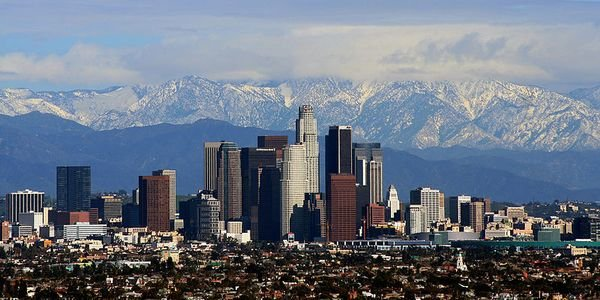 When the sky is clear over Los Angeles, the San Gabriel Mountains are visible.