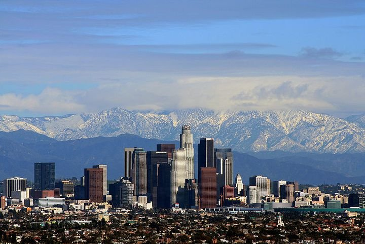 When the sky is clear over Los Angeles, the San Gabriel Mountains are visible. - Photo via Wikimedia Commons/Todd Jones.
