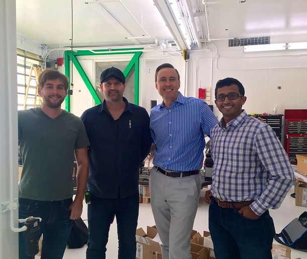 Investor Steve Jurvetson (blue shirt) meets with the Zoox cofounders at their global headquarters in 2015. - Photo via Flickr/Steve Jurvetson.