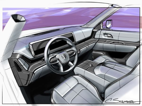 "This is the first ""production-intent"" sketch of the Endurance's interior. Hydra Design Labs has partnered with Lordstown Motors to lead the design of the Endurance. - Sketch courtesy of Lordstown Motors."