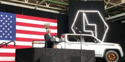 """""""It's a nice ride and I'm a truck guy,"""" said Vice President Mike Pence after emerging from the passenger side of the Endurance. """"I'm currently between trucks right now, but I'm looking."""""""