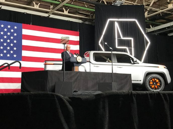 """It's a nice ride and I'm a truck guy,"" said Vice President Mike Pence after emerging from the passenger side of the Endurance. ""I'm currently between trucks right now, but I'm looking."" - Photo by Jeff Carter."