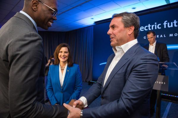 Mark Reuss (right), GM president, greets Michigan Lt. Governor Garlin Gilchrist and Michigan Governor Gretchen Whitmer in January, at the GM Detroit- Hamtramck Assembly Plant where he announced a $2.2 billion investment at the plant to produce a variety of all-electric trucks and SUVs. - Photo courtesy of GM.