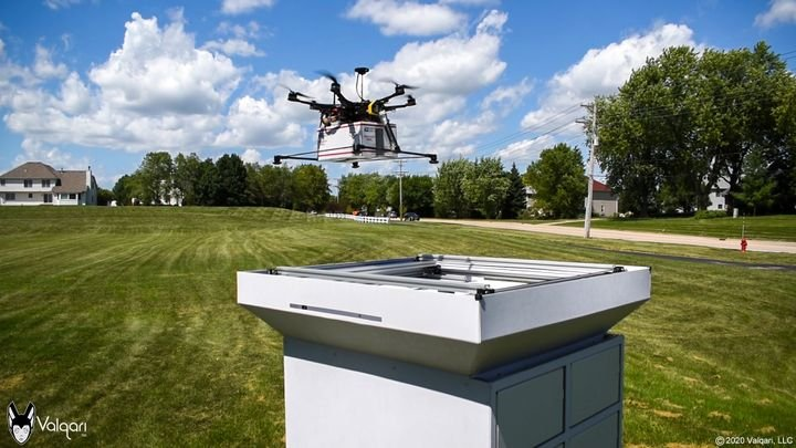 "The seven and a half-feet high Drone Delivery Station can accommodate packages up to 12""x12""x9"" and has automated route planning and scheduling features. - Photo courtesy of Valqari."