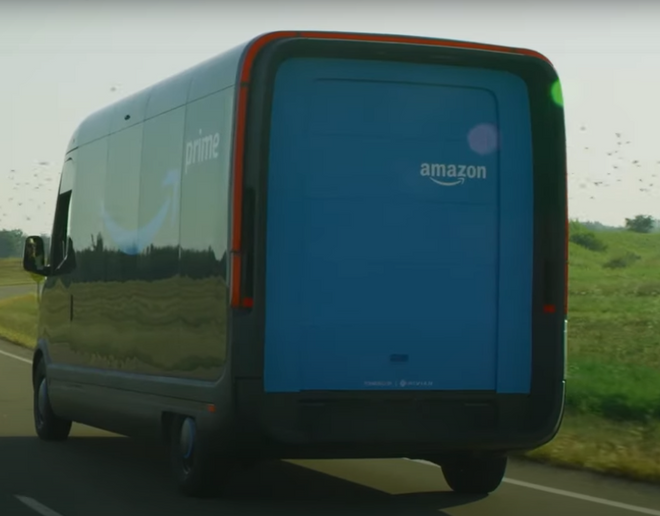 The Amazon electric delivery vehicle appears to have the same or greater height than the Mercedes Sprinter high roof version, which stands at 107.5 inches. - Screen grab courtesy of Amazon.