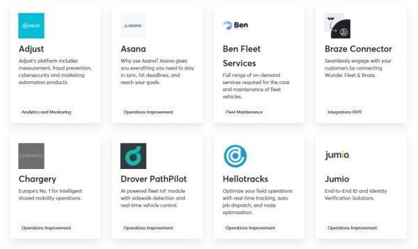 The solutions on the Wunder Marketplace are designed to improve internal processes, communicate with customers, and automate fleet maintenance, as well as provide analytics and a gamification platform. -