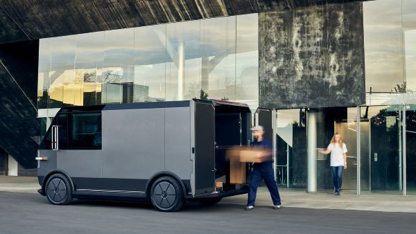The vehicle offers a low step in height of 17 inches along with storage lockers, a roll-up style door, and ramp slide outs.   - Image courtesy of Canoo.