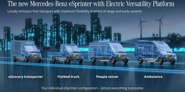 The eSprinter's new Electric Versatility Platform will allow for multiple body types,...