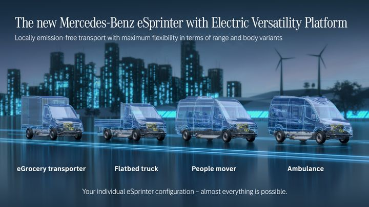 The new eSprinter will have three battery options and various body configurations, including a cutaway chassis model suitable for ambulances, motorhomes or refrigerated bodies. - Image courtesy of Mercedes-Benz.