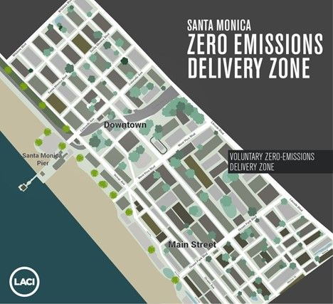 The program will monitor vehicle activity in curb zones to study the impact on delivery efficiency, safety, congestion, and emissions. - Image courtesy of LACI.
