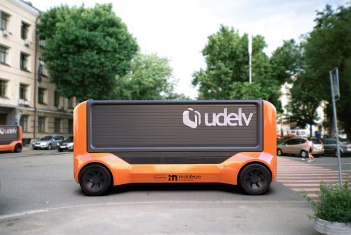 The Transporter is Udelv's next-generation vehicle, comprised of an electric skateboard, cargo robotics, an autonomous delivery management system,  and the autonomous Mobileye Drive technology. - Image courtesy of Udelv.