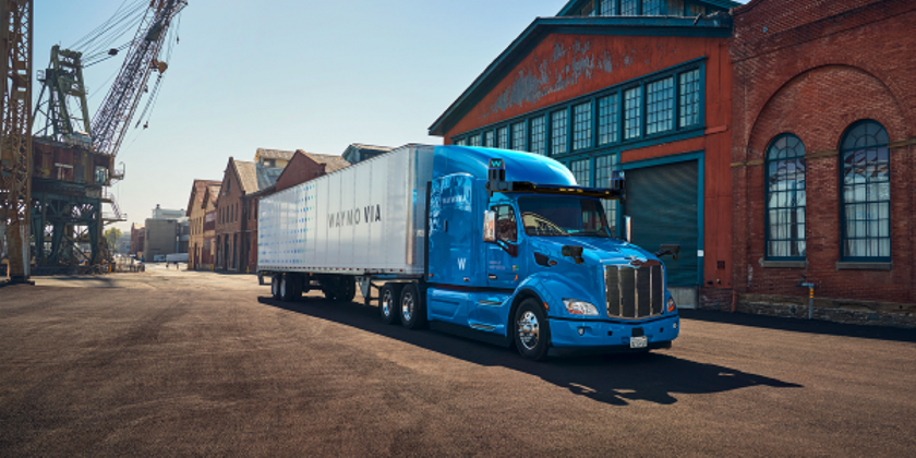 Waymo Via's Peterbilt-based heavy-duty truck is equipped with the fifth generation Waymo Driver...