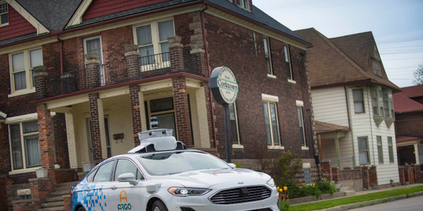 This Ford Fusion Hybrid is being used in autonomous testing by Argo AI in collaboration with...