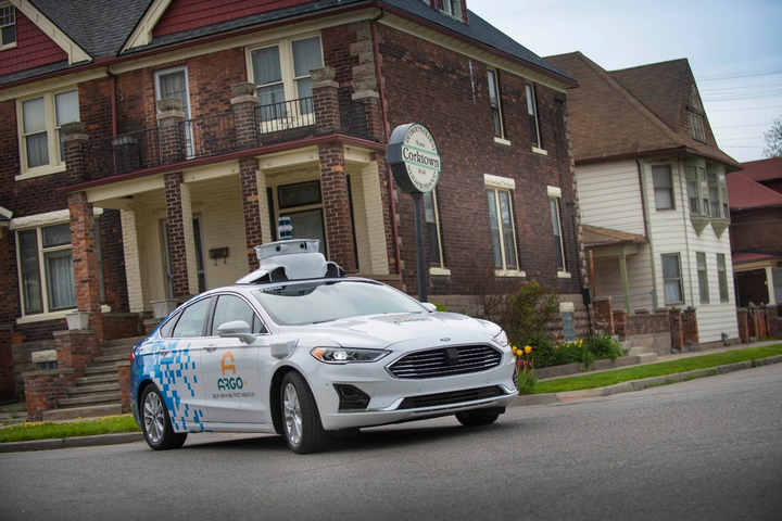 This Ford Fusion Hybrid is being used in autonomous testing by Argo AI in collaboration with Ford. 