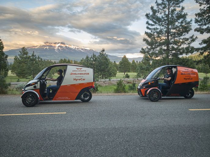 Designed to quickly, safely, and affordably get the goods where they need to go, the Deliverator will target 100 city miles of range, 75-mph top speed, 350-pound carrying capacity, and over 20 cubic feet of cargo space. - Photo courtesy of Arcimoto.