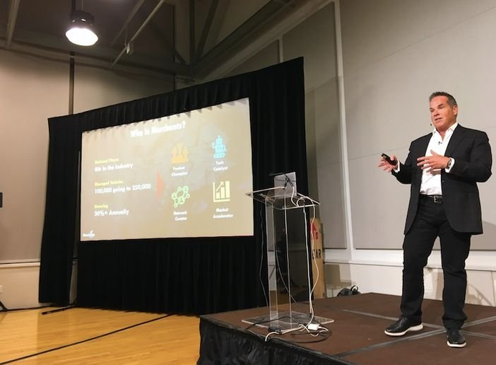 Merchants Fleet CEO Brendan Keegan delivers a seminar at TechCrunch Mobility Sessions in San Jose in July.  - Photo by Chris Brown.