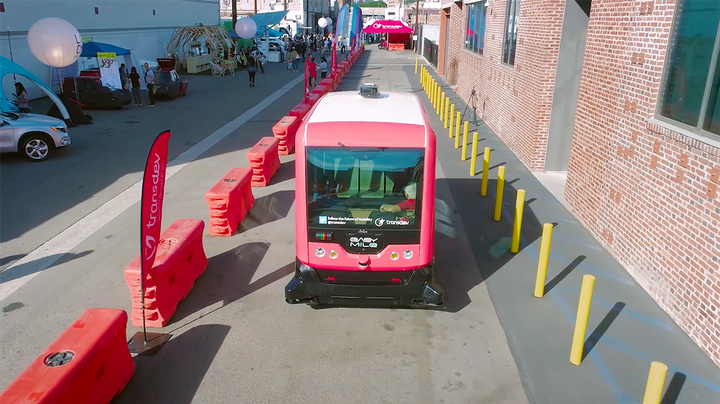 At last year's event, attendees were able to travel in an autonomous shuttle by Easy Mile and Transdev. - Photo via CoMotion LA.