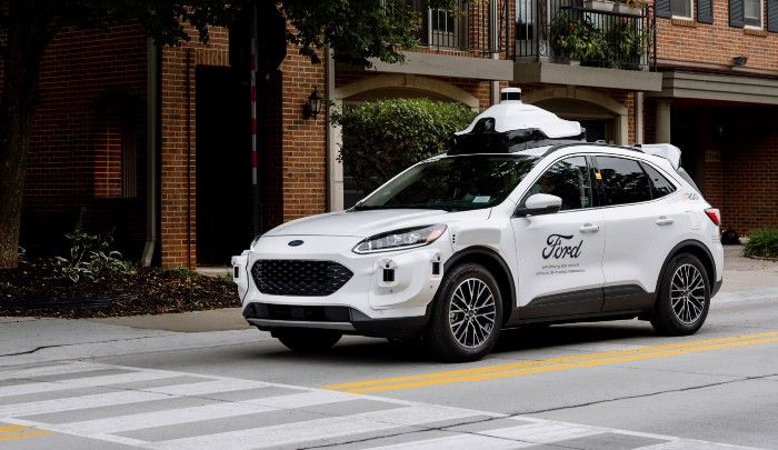 "Ford and Argo AI's fourth-generation self-driving test vehicles are built on the Escape Hybrid platform with systems that are ""launch intent,"" meaning they have the components the company believes is needed to support commercial use.  - Photo via Ford/Medium."