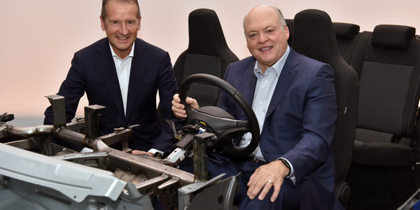 Volkswagen CEO Dr. Herbert Diess and Ford President and CEO Jim Hackett announced their...