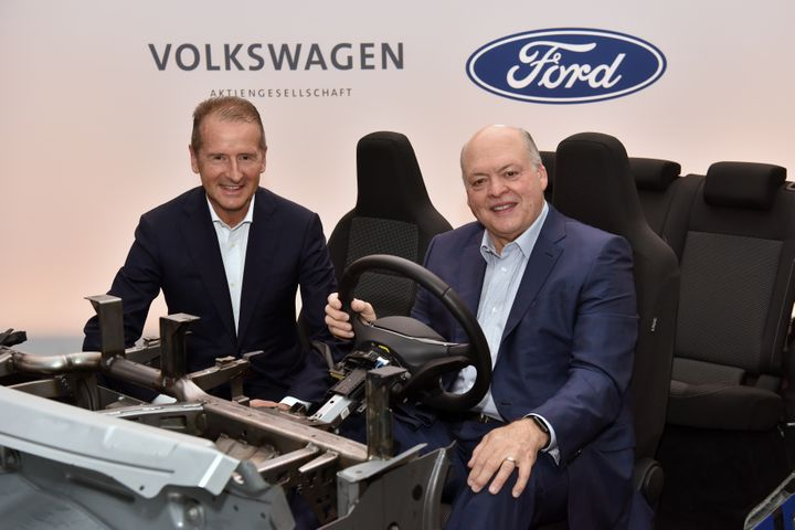 Volkswagen CEO Dr. Herbert Diess and Ford President and CEO Jim Hackett announced their companies are expanding their global alliance to include electric vehicles – and will collaborate with Argo AI to introduce autonomous vehicle technology in the U.S. and Europe. - Photo via Ford.