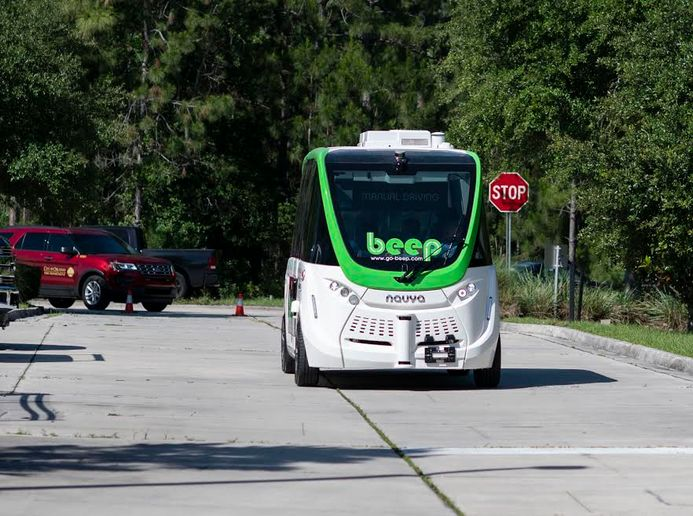The fully electric, driverless shuttle is set to launch Feb. 22, and will operate daily from noon to 6 p.m. in the P83 Entertainment District on Arrowhead Fountain Center Drive from Huntington University to Paradise Lane. - Photo courtesy of Beep.