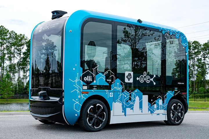 This is the fifth autonomous vehicle the JTA has tested since it launched its Ultimate Urban Circulator program in 2017. The U2C program will transform and modernize the existing Skyway APM system in Downtown Jacksonville to support autonomous vehicles and related technologies. - Photo via Beep.