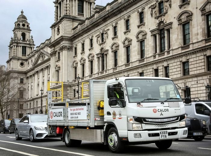 Emitting zero emissions, the FUSO eCanter is now delivering the company's bottled butane and propane to customers in central London. - Photo via Daimler.