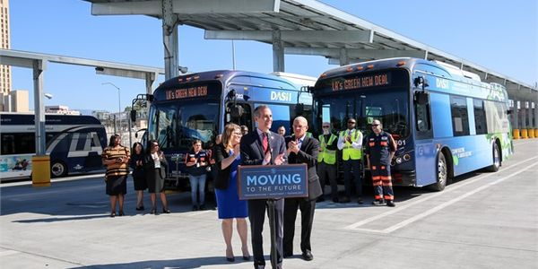 Mayor Garcetti's announcement was made at LADOT's new, state-of-the-art bus maintenance yard — a...