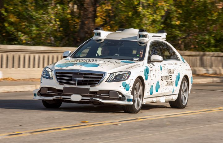 The service will initially be available to a select group of users. Using an app developed by Daimler Mobility AG, customers will book a trip from a defined pick-up point to their destination. - Photo courtesy of Mercedes-Benz.