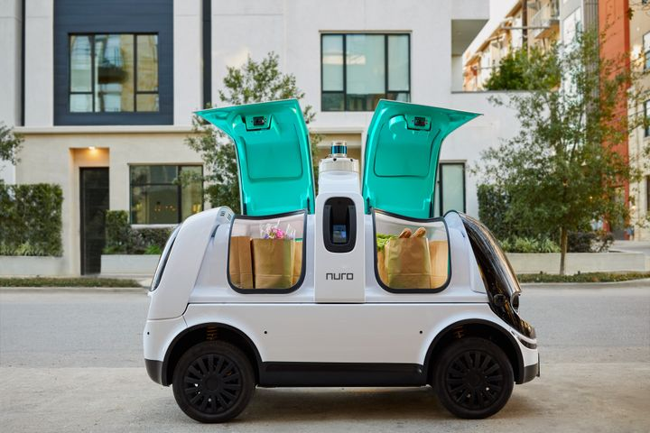 The custom-designed R2 will be used for last-mile delivery of consumer products, groceries, and hot food from local stores and restaurants. - Photo via Nuro.