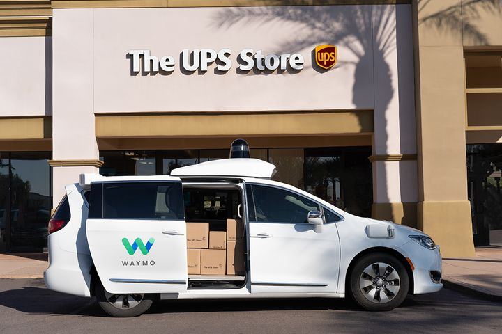 In the Arizona pilot, the vehicle will drive autonomously with a Waymo-trained driver on board to monitor operations. - Photo via UPS.