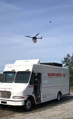 The HorseFly UAS delivers parcels, carries sensors and cameras, and operates autonomously. - Photo courtesy of Workhorse.