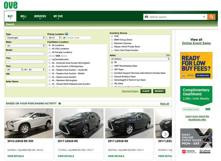 Dealers will automatically see a curated selection of personalized vehicle suggestions after logging into the OVE home page. - Screenshot via Manheim.